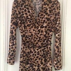 Anne Klein long sleeve leopard dress.